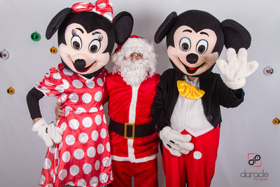 Santa and his Special friends, Mickey and Minnie Mouse.